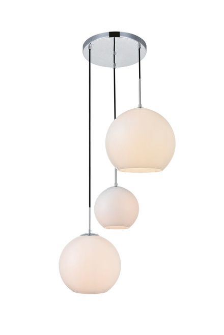 LIVING DISTRICT LD2219C Baxter 3 Lights Chrome Pendant With Frosted White Glass