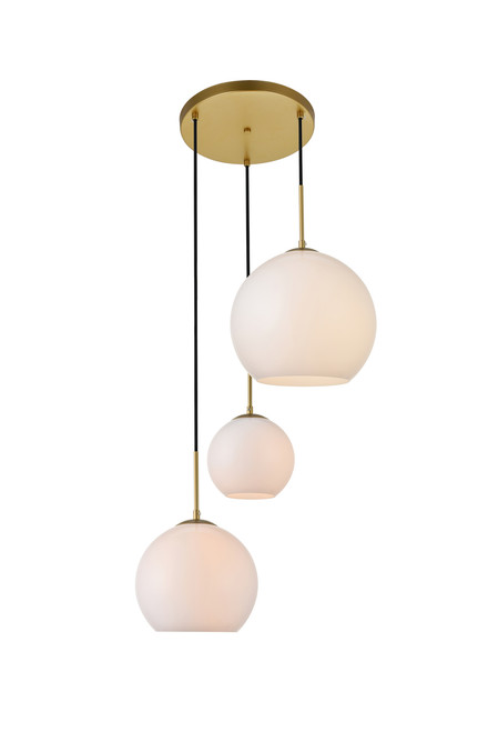 LIVING DISTRICT LD2219BR Baxter 3 Lights Brass Pendant With Frosted White Glass