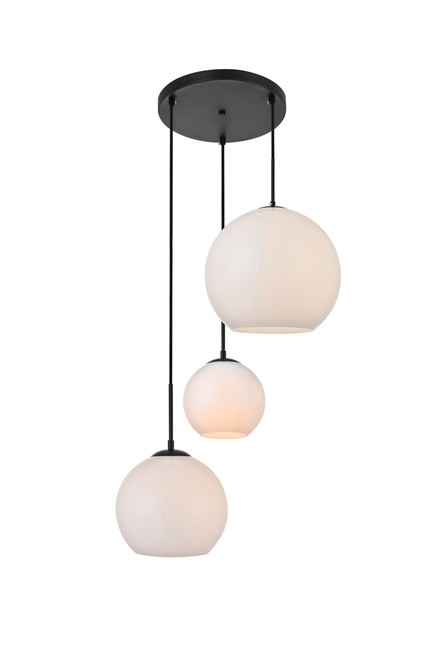 LIVING DISTRICT LD2219BK Baxter 3 Lights Black Pendant With Frosted White Glass