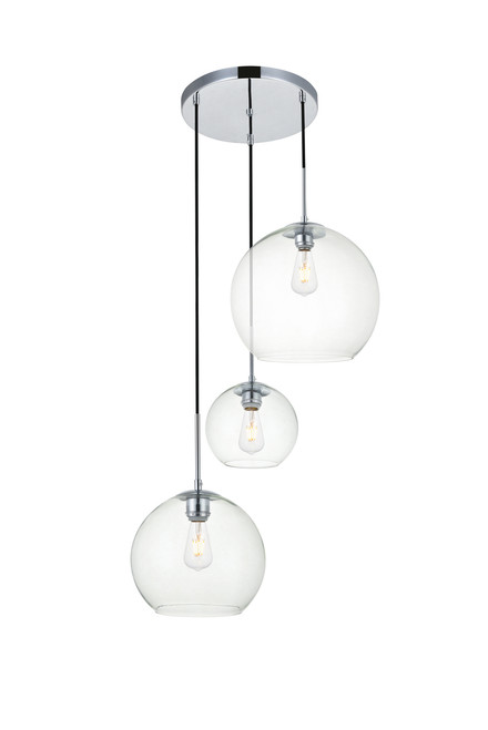 LIVING DISTRICT LD2218C Baxter 3 Lights Chrome Pendant With Clear Glass