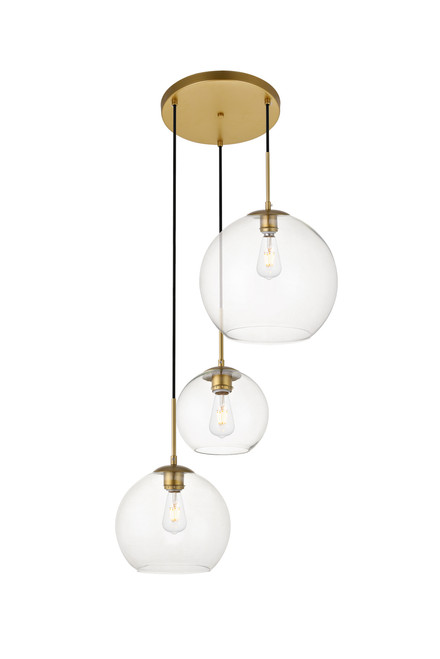 LIVING DISTRICT LD2218BR Baxter 3 Lights Brass Pendant With Clear Glass