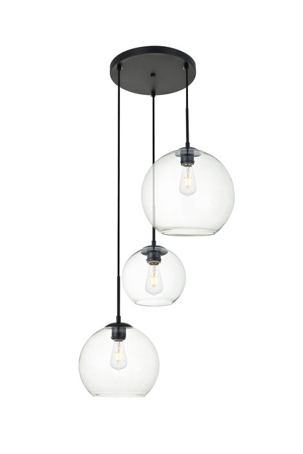 LIVING DISTRICT LD2218BK Baxter 3 Lights Black Pendant With Clear Glass