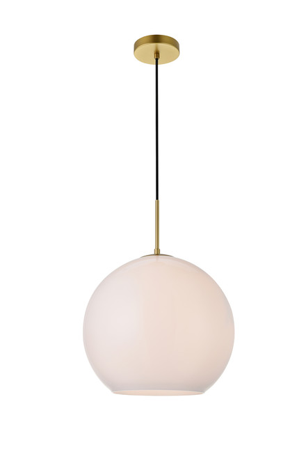 LIVING DISTRICT LD2217BR Baxter 1 Light Brass Pendant With Frosted White Glass