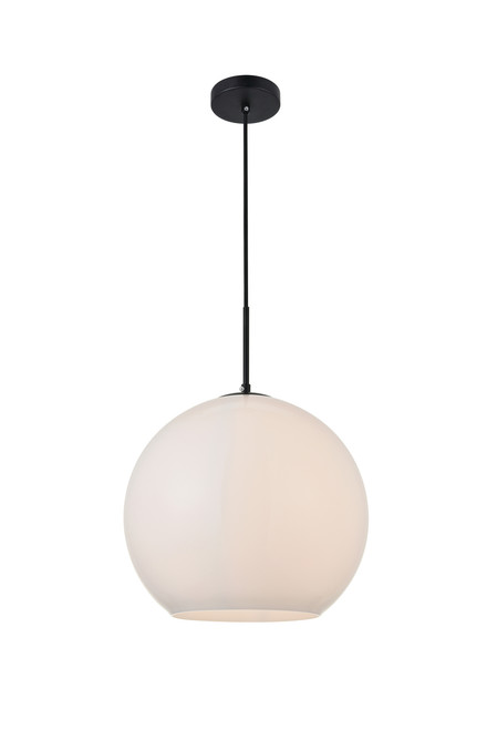 LIVING DISTRICT LD2217BK Baxter 1 Light Black Pendant With Frosted White Glass