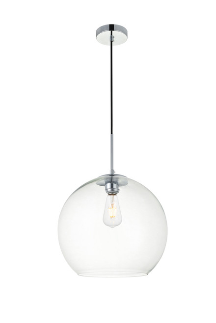 LIVING DISTRICT LD2216C Baxter 1 Light Chrome Pendant With Clear Glass