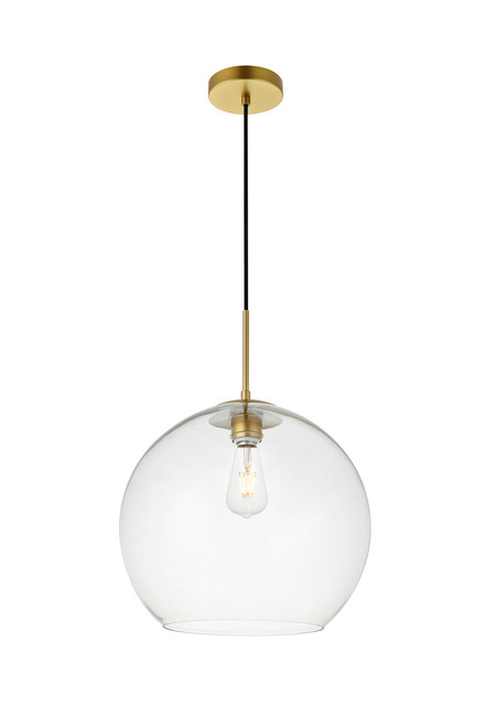 LIVING DISTRICT LD2216BR Baxter 1 Light Brass Pendant With Clear Glass