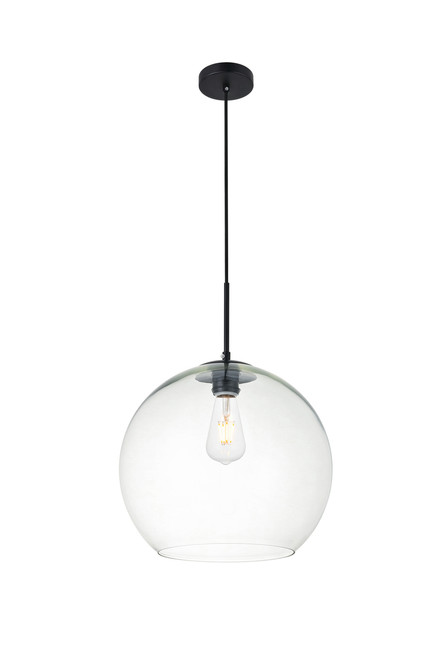 LIVING DISTRICT LD2216BK Baxter 1 Light Black Pendant With Clear Glass