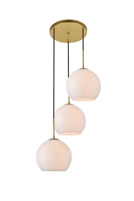 LIVING DISTRICT LD2215BR Baxter 3 Lights Brass Pendant With Frosted White Glass