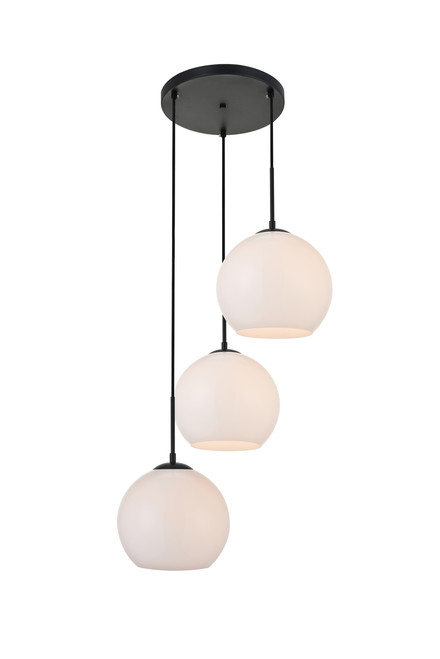 LIVING DISTRICT LD2215BK Baxter 3 Lights Black Pendant With Frosted White Glass