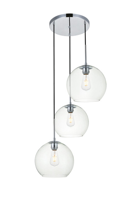 LIVING DISTRICT LD2214C Baxter 3 Lights Chrome Pendant With Clear Glass