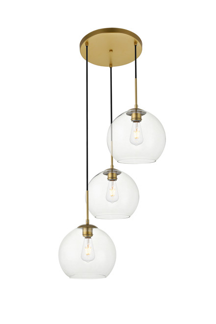 LIVING DISTRICT LD2214BR Baxter 3 Lights Brass Pendant With Clear Glass