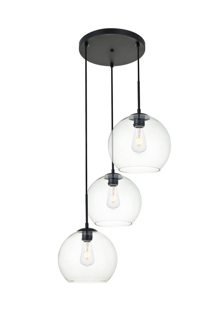 LIVING DISTRICT LD2214BK Baxter 3 Lights Black Pendant With Clear Glass