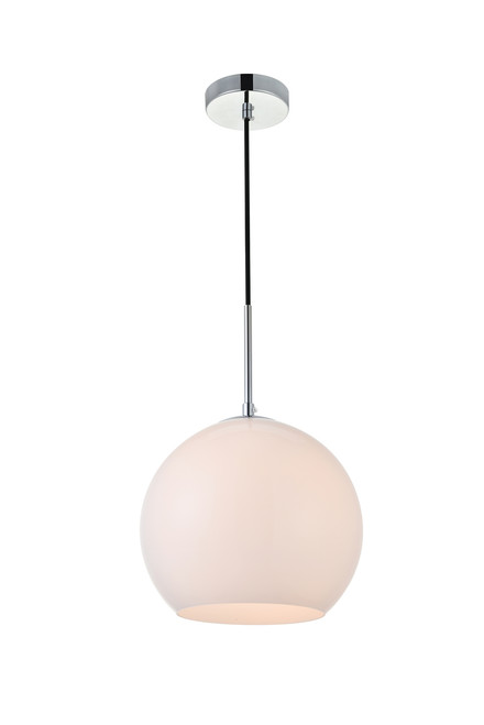 LIVING DISTRICT LD2213C Baxter 1 Light Chrome Pendant With Frosted White Glass