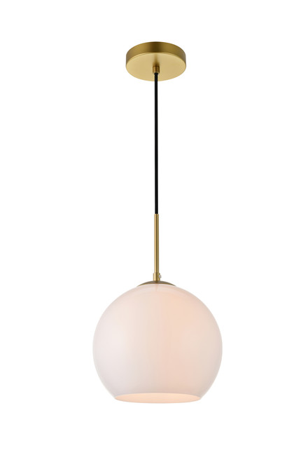 LIVING DISTRICT LD2213BR Baxter 1 Light Brass Pendant With Frosted White Glass
