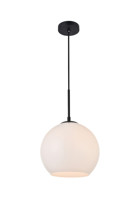 LIVING DISTRICT LD2213BK Baxter 1 Light Black Pendant With Frosted White Glass