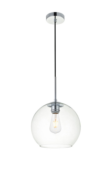 LIVING DISTRICT LD2212C Baxter 1 Light Chrome Pendant With Clear Glass