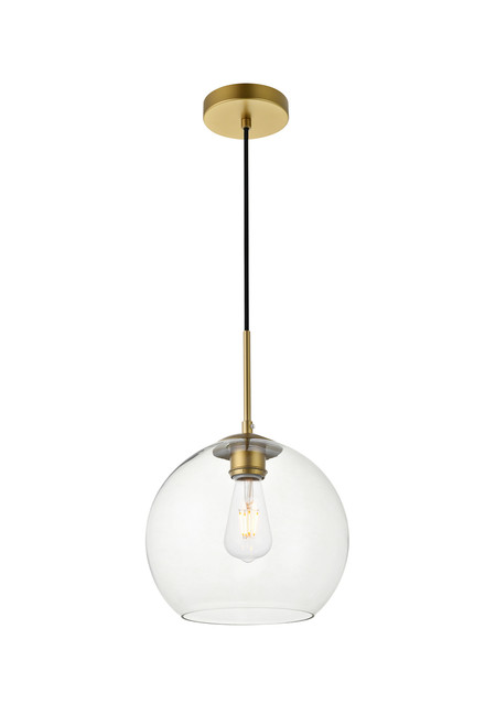 LIVING DISTRICT LD2212BR Baxter 1 Light Brass Pendant With Clear Glass