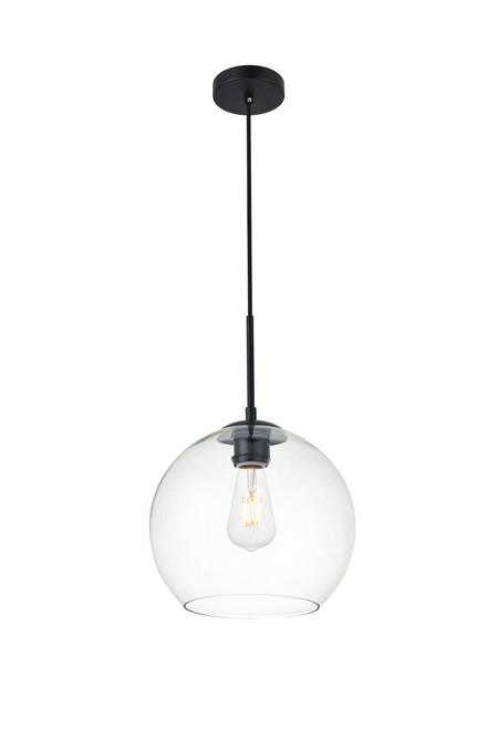 LIVING DISTRICT LD2212BK Baxter 1 Light Black Pendant With Clear Glass