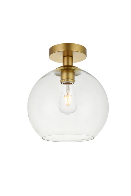 LIVING DISTRICT LD2210BR Baxter 1 Light Brass Flush Mount With Clear Glass
