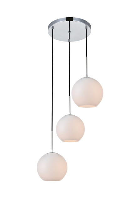 LIVING DISTRICT LD2209C Baxter 3 Lights Chrome Pendant With Frosted White Glass