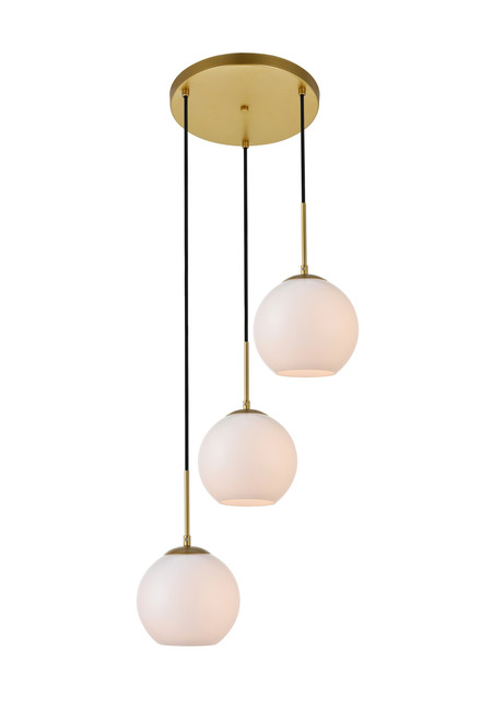 LIVING DISTRICT LD2209BR Baxter 3 Lights Brass Pendant With Frosted White Glass