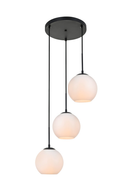 LIVING DISTRICT LD2209BK Baxter 3 Lights Black Pendant With Frosted White Glass