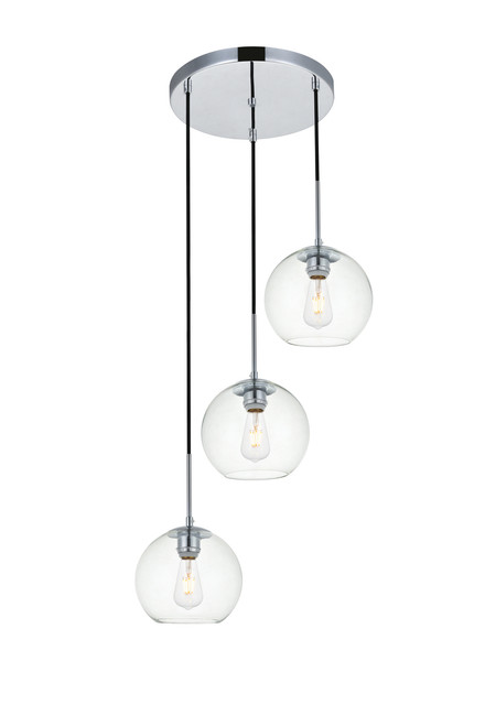 LIVING DISTRICT LD2208C Baxter 3 Lights Chrome Pendant With Clear Glass