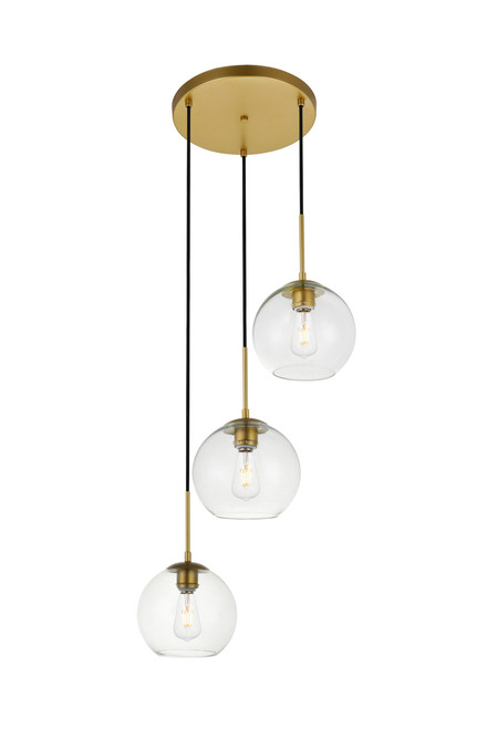 LIVING DISTRICT LD2208BR Baxter 3 Lights Brass Pendant With Clear Glass