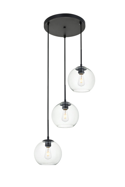 LIVING DISTRICT LD2208BK Baxter 3 Lights Black Pendant With Clear Glass