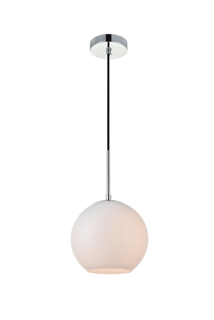 LIVING DISTRICT LD2207C Baxter 1 Light Chrome Pendant With Frosted White Glass