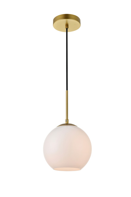 LIVING DISTRICT LD2207BR Baxter 1 Light Brass Pendant With Frosted White Glass