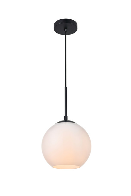 LIVING DISTRICT LD2207BK Baxter 1 Light Black Pendant With Frosted White Glass