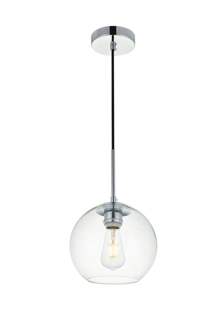 LIVING DISTRICT LD2206C Baxter 1 Light Chrome Pendant With Clear Glass