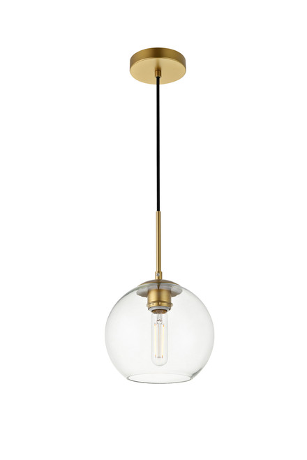 LIVING DISTRICT LD2206BR Baxter 1 Light Brass Pendant With Clear Glass