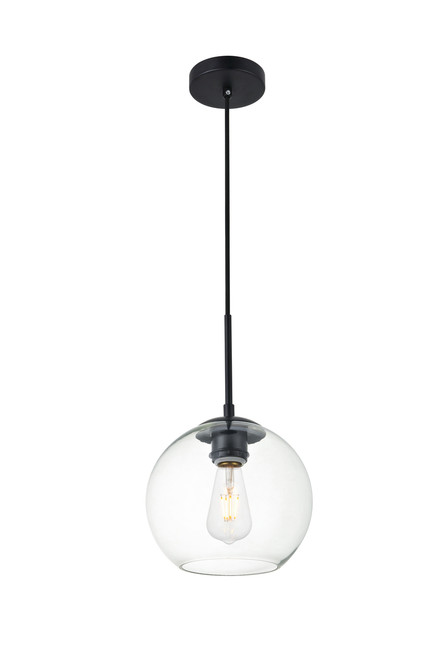 LIVING DISTRICT LD2206BK Baxter 1 Light Black Pendant With Clear Glass