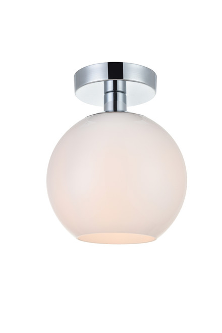 LIVING DISTRICT LD2205C Baxter 1 Light Chrome Flush Mount With Frosted White Glass