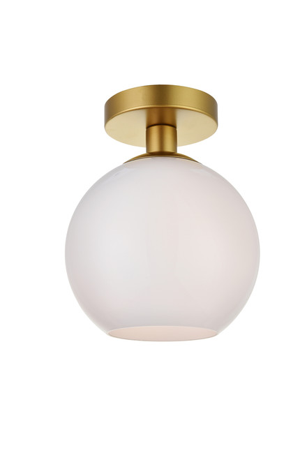 LIVING DISTRICT LD2205BR Baxter 1 Light Brass Flush Mount With Frosted White Glass