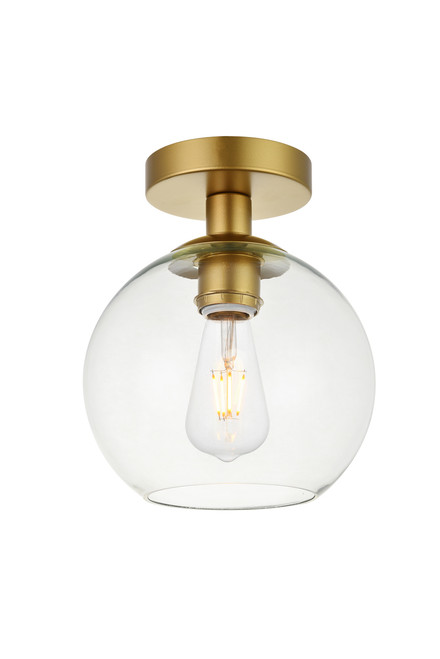LIVING DISTRICT LD2204BR Baxter 1 Light Brass Flush Mount With Clear Glass