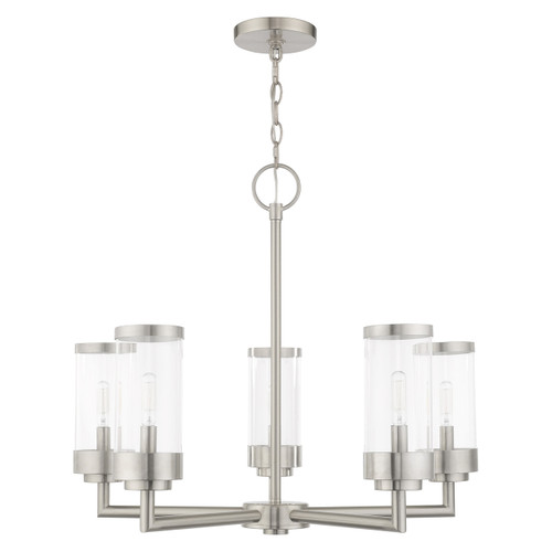 LIVEX LIGHTING 20725-91 Hillcrest 5-Light Outdoor Chandelier, Brushed Nickel
