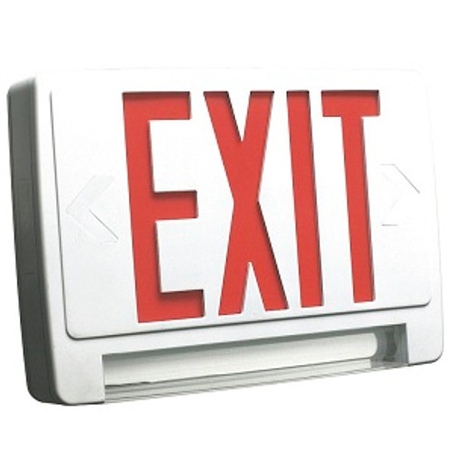 HOWARD LIGHTING EXIT sign Emergency Combo, Lightpipe, WHITE Case/Housing, Double Face, RED lette