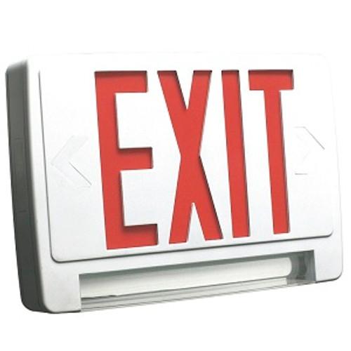 HOWARD LIGHTING EXIT sign Emergency Combo, Lightpipe, WHITE Case/Housing, Double Face, RED lette