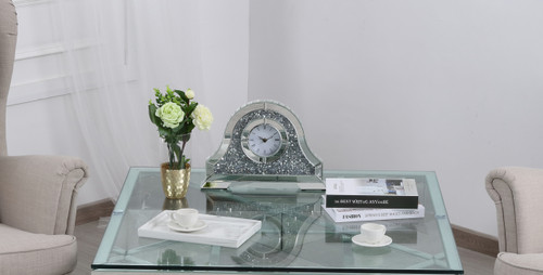 Elegant Decor MR9240 Sparkle 15.7 in. Contemporary Silver Crystal Table clock