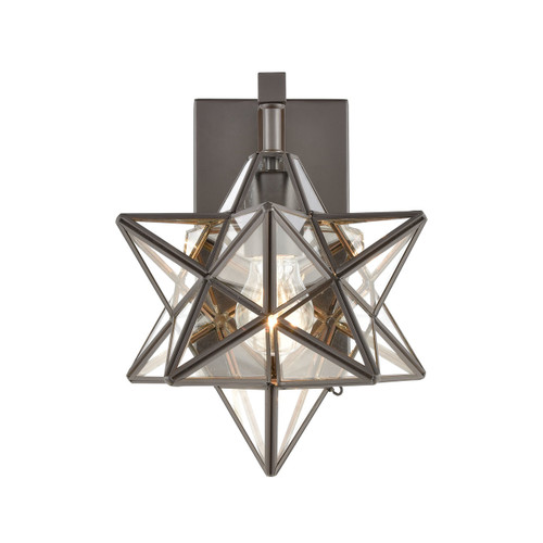 ELK HOME 1145-025 Moravian Star Wall Sconce in Oil Rubbed Bronze with Clear Glass