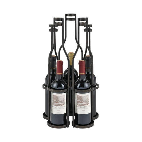 ELK HOME 351-10788 Five Green Bottles Wine Rack in Aged Black