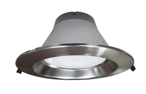 NICOR CLR8-10-UNV-50K-NK 8 inch Recessed Commercial LED Downlight, Direct to Ceiling Kit, Nickel, 5000K