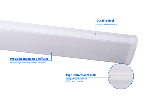 NICOR WPC14UNV508WH WPC Series 4-Foot LED Linear Wraparound Light Fixture, 5000K