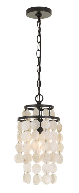 CRYSTORAMA BRI-3000-DB Brielle Capiz Shell 1 Light Bronze Mini Chandelier