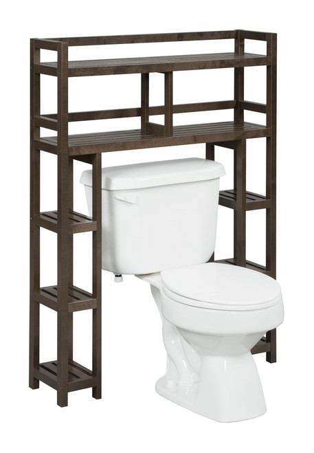 NEWRIDGE HOME 2029-ESP Solid Wood Dunnsville 2-Tier Space Saver with Side Storage for your Bathroom
