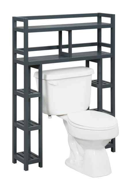 NEWRIDGE HOME 2029-GRA Solid Wood Dunnsville 2-Tier Space Saver with Side Storage for your Bathroom