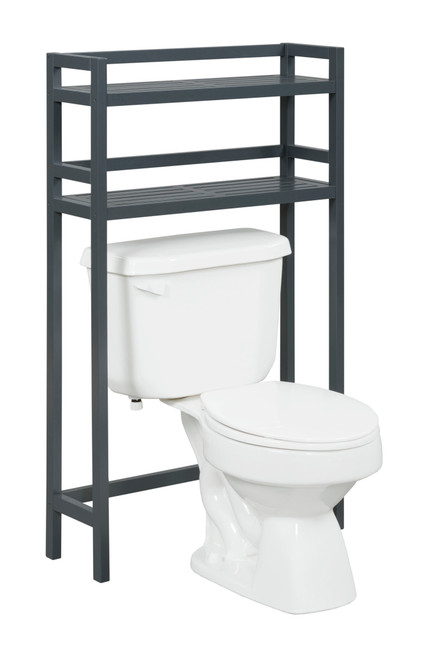 NEWRIDGE HOME 2026-GRA Solid Wood Dunnsville 2-Tier Space Saver for Bathroom Extra Storage